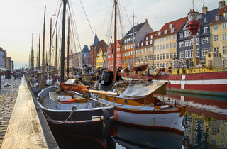 The boats and ships in Nyhavn, Copenhagen.