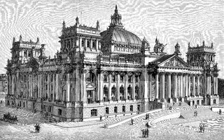 West facade of the Reichstag Building in Berlin, Germany