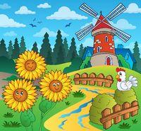 Sunflowers near windmill - picture illustration.