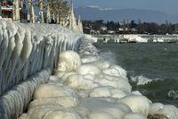 Cold time at Lake Geneva, Versoix, Switzerland