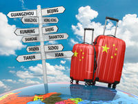 Travel concept. Suitcases and signpost what to visit in China.