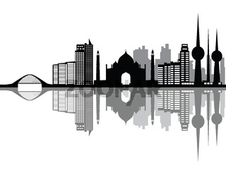 kuwait skyline with bridge and houses