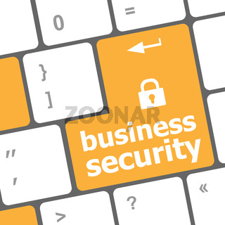business security key on the keyboard of laptop computer