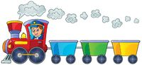 Train with three empty wagons - picture illustration.