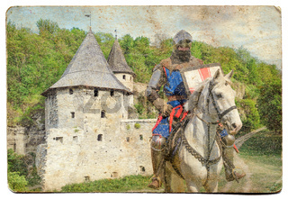 Armored knight on warhorse - retro postcard on vintage paper background