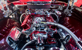 Engine compartment of chromed Camaro