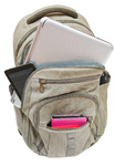 travel rucksack with mobile devices isolated
