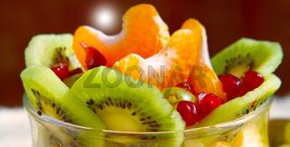 Fresh fruit salad .