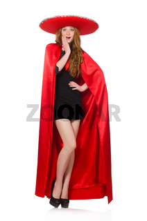 Mexican woman in red clothing on white