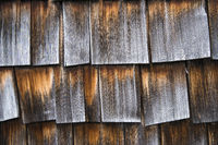 Wooden barn with weathered shingles