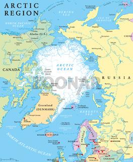Arktis Region politische Landkarte