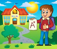 School boy with A plus grade theme 2 - picture illustration.