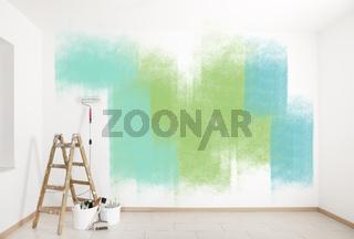 Malerzubehör bunte Wand