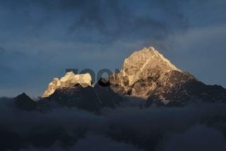 Mt Thamserku at sunset, view from Khumjung