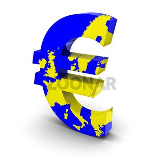 Euro Landkarte blau gelb