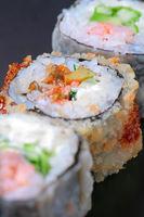 Macro closeup of fresh sushi combination assortment selection focus, shallow DOF