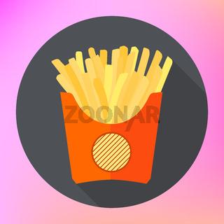 french fries potatoe flat vector