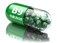 Pills with b9 folic acid element. Dietary supplements. Vitamin capsules.