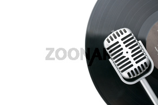 vintage microphone and vinyl record