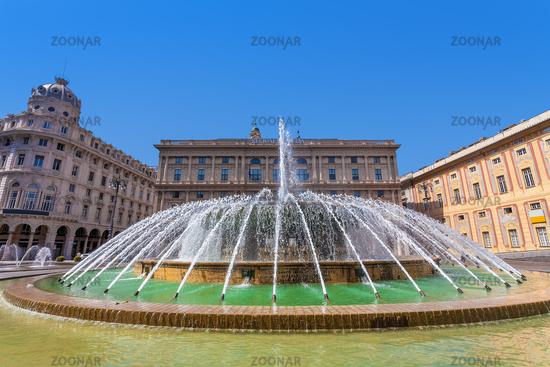 Fountain on Piazza de Ferrari in Genoa.