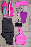 Flat lay shot of woman#39;s sport accessories