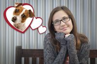 Daydreaming Girl Next To Floating Hearts with Puppy Within
