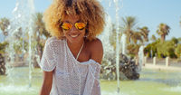 Happy Smiling Girl With Afro Haircut