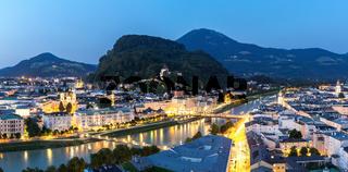 Salzburg Austria at dusk panorama