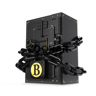 Safe closed on the lock and chain. Golden bitcoin. Path included.