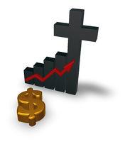 balkendiagramm mit christlichem kreuz und dollarsymbol - 3d illustration