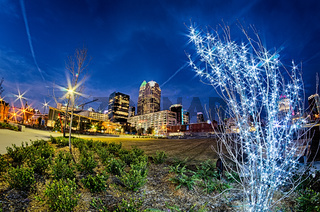 center city charlotte north carolina decorated for christmas