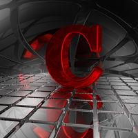 großbuchstabe c in futuristischer umgebung - 3d illustration
