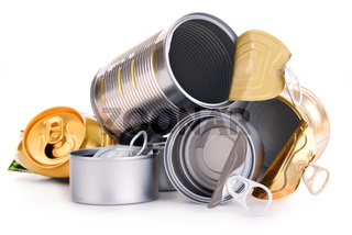 Recyclable garbage consisting of metal cans isolated on white background