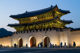 Gwanghwamun gate of Gyeongbokgung Palace Seoul Korea by evening