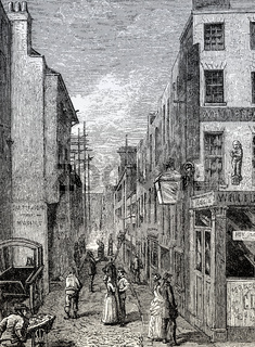 Cock Lane, a small street in Smithfield in the City of London, 18th century