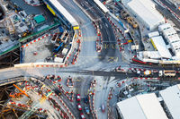 Aerial view of busy crossroad. Hong Kong