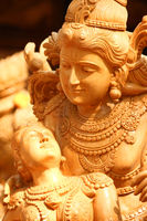sculpture of lord vishnu and lakshmi