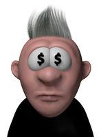 cartoonfigur mit dollarzeichen in den augen - 3d illustration