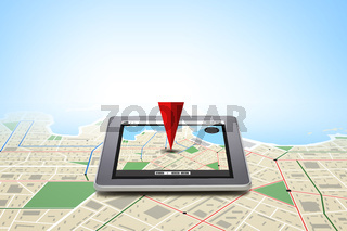 tablet pc with gps navigator map on screen