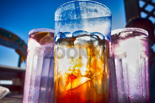 abstract cold iced tea   in summer sun