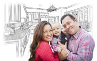 Young Family Over Custom Kitchen and Design Drawing
