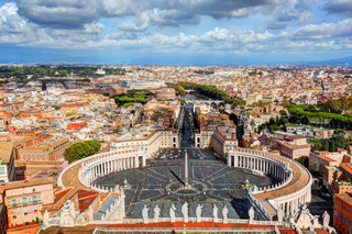 St. Peter#39;s Square, Piazza San Pietro in Vatican City. Rome, Italy in the background