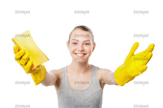Smiling young woman with wipe isolated