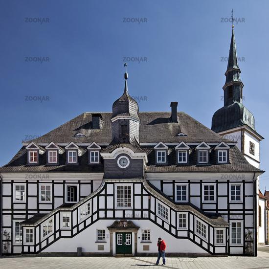 city hall with church St. Johannes Baptist