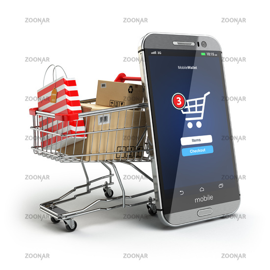 Online shopping concept. Mobile phone or smartphone with cart and boxes and bag.