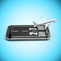 Booking or buying airline tickets online concept. Smartphone or mobile phone with runway and airplane.