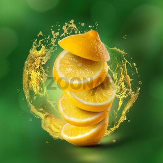 Lemon flying in air with juice splash on green