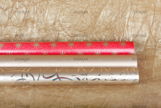 Rolls of multicolored wrapping paper for gifts