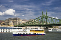 Liberty bridge with ships Budapest Hungary