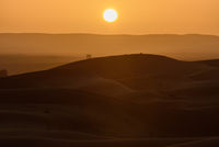 Sunset over the dunes, Morocco, Sahara Desert
